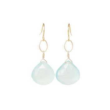 Aqua Chalcedony Briolette Dangle Earrings