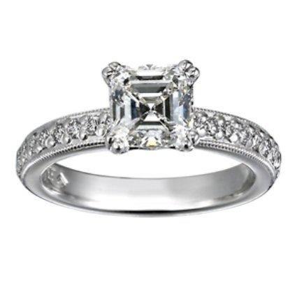 Asscher Diamond Ring with Bead-set Diamond Accents and Milgrain
