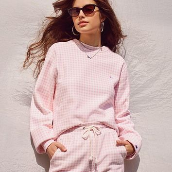 Champion + HVN for Urban Outfitters Gingham Crew-Neck Sweatshirt   Urban Outfitters
