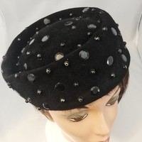 Vintage Hat, Black Velour With Black Accents, Pill Box Style, 1940's, Made In USA