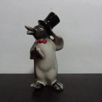 Vintage Ceramic Penguin Figurine - Penguin Wearing a Bow Tie and a Top Hat