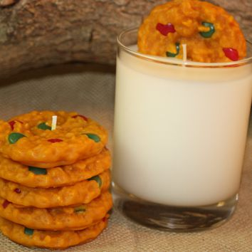 Cookies and Milk Candle Set, Highly Scented Chocolate Candy-Coated Cookie Candle
