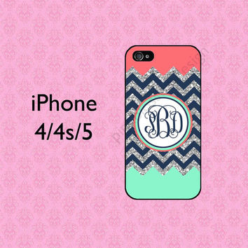 Coral Mint iPhone 5C Case , Personalized iPhone 4 Case , iPhone 5 Case , Chevron iPhone 5S Case ( NOT REAL GLITTER )