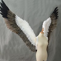 beautiful white gray men women feather angel wings cosplay costume