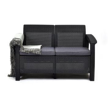 Keter Corfu Resin Love Seat with Cushions, All Weather Plastic Patio Furniture, Charcoal Gray Rattan - Walmart.com