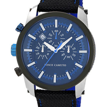 Vince Camuto Mens Round Watch with Nylon Strap