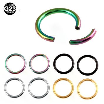 1PC G23 Titanium Colorful Nose Rings Segment Piercings Septun Clicker Small Fake Hoop Septum Body Piercing Jewelry