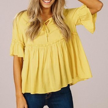 Women Ruffle Bell Sleeves Babydoll Top