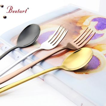 Korea Stainless Steel Dinnerware Gold Table Fork Black Dessert Fork Flat And Long Handle Tablerware
