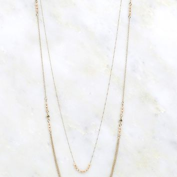 Layered Necklace Pink