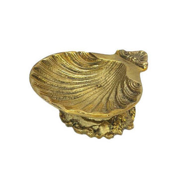 Brass Shell Soap Dish Ornate Holder Footed Pedestal Stand Vintage Nautical Coastal Scallop Clam Seashell Bathroom Kitchen Decor Aged Gold