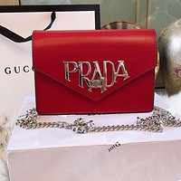 PRADA Trending Women Stylish Leather Metal Chain Crossbody Satchel Shoulder Bag Red