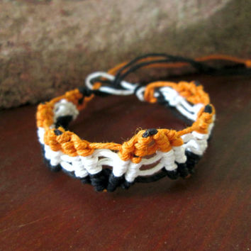 Orange, White, Black Surfer Bracelet, Unisex Hemp Jewelry, Beach Bracelet, Boho Bracelet