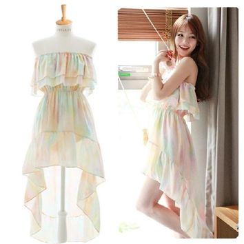 Summer Dress Sexy Slash Neck Flounce Beach Dresses for Women Chiffon Strapless Tie-dye Printing Women's Clothing