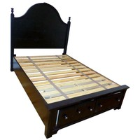 Pre-owned Modern Black Full Wood Bed Frame With Drawers