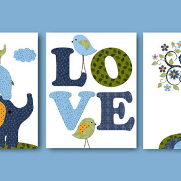 Baby Gift Kids Wall Decor Love Nursery Print Baby Boy Nursery Decor Children Art Print Baby Nursery Art set of 3 8x10 Navy Blue Green