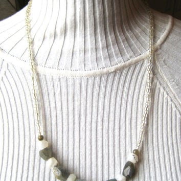 Earthy geometric Labradorite & Moonstone necklace. Blue flash, gray and white stone iridescent jewelry. Long, layering length