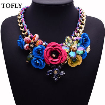 Vintage Women Jewerly Gold Chain Spray Paint Metal Flower Resin Beads Rhinestones Crystal Necklace = 1946105860