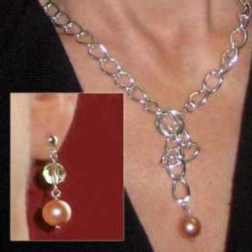 Silver Chain Necklace - Chunky Twisted Cable with Swarovski Rose Peach Pearl Drop