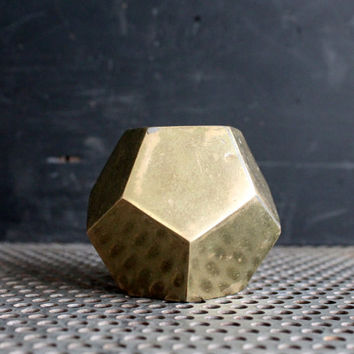 Vintage Geometric Brass Paperweight, Dodecahedron Shape Solid Brass Sixties Office Paperweight