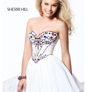 Strapless Corset With Stones Short Prom Dress Sherri Hill 21075