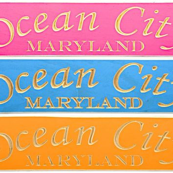 WSOC1 Wood Sign Carved Ocean City Maryland
