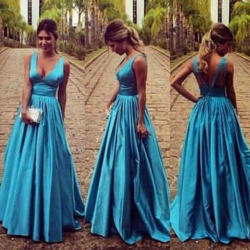 Sexy Backless Vintage Long Evening Dress Party Elegant Vestido De Festa Longo Floor Length Cheap Prom Dresses 2015 Fast Shipping