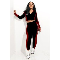 Champion tide brand female embroidery logo casual sports suit two-piece black