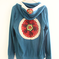 L Teal Hoodie Upcycled clothing Eco friendly clothing Recycled Outerwear Upcycled jacket Altered couture Hippie Hooded jacket SaidoniaEco