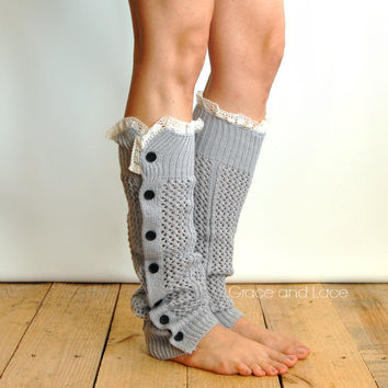 Nellie Knit - LIGHT GREY - open weave button down leg warmer - legwarmers - button leg warmers - boot socks - Grace and Lace