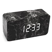 Alarm clock, LiKee Marble Fashion Wooden LED Alarm Clock with Dual Power, Multi-function, 3 Intelligent Alarms, Voice Control Screen and 3 Modes