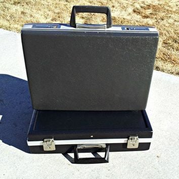 Vintage Mad Men Dark Gray Trojan Briefcase   Hard Sided Attache Case   Shabby Chic Clamshell Executive Briefcase For Display Or Adventures