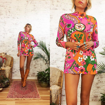 Vintage 1960's PEACE FROG Psychedelic Mini Mod Shift Dress || Neon Floral Acid Trip || Size Small