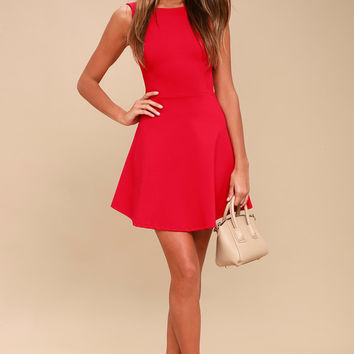 Special Kind of Love Red Backless Skater Dress
