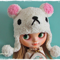 SALE - Neo Blythe Dress Cloth Pullip Dal - Very Cute & Soft White Little Rilakuma Knit Helmet Hat