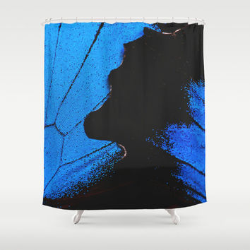 Shower Curtain - Butterfly Shower Curtain - Butterfly - Nature Shower Curtain - Woodland - Blue Butterfly - Rustic Shower Curtain