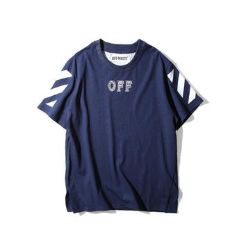 "AUGUAU Off-White ""OFF""Letter Oblique Striped Sleeve T-Shirt"