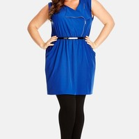 Plus Size Women's City Chic Belted Utility Zip Crepe de Chine Tunic,