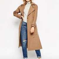 ASOS Coat in Midi Length with Side Splits at asos.com