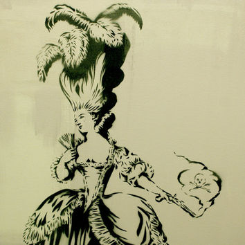 LADY APPLEBOSOMS has had enough of Mrs. WITHERPUSS Original Painting 29 x 31 Marie Antoinette Versailles Etching Style Graffiti Pop Art