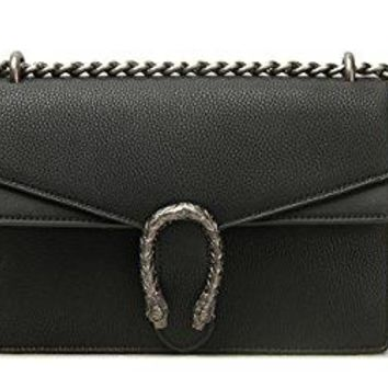 Women Flap Shoulder leather Bag Sliding Chain with textured tiger head closure (Black)
