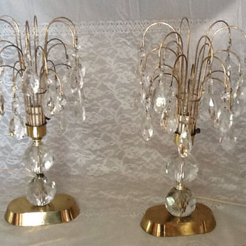 Vintage Pair Crystal Candelabra Lamps 1940s Hand Cut Lead  Crystal. Waterfall or Fountain Style
