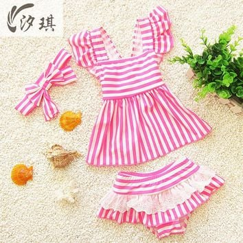 xiqi girls swim wear Swimsuits separate swimwear for children mermaid swimsuit for kids striped toddler girls bathing suits