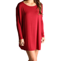 Wine Piko Tunic Long Sleeve Dress