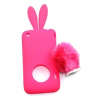Zehui Cute Rabbit Soft Silicon Bumper Cover Case for Iphone 3G 3Gs - Hot Pink