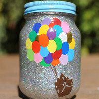 Tinted Glitter Mason Jar - Disney Pixar's Up Inspired