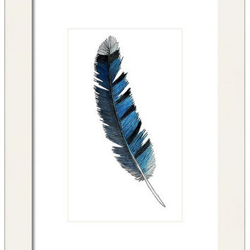 Watercolor BlueJay Feather Print, Decorative Wall Decor, Nature Wall Art, Blue Feather, Giclee Print, Child's Bedroom Art, Bohemian Decor