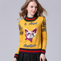 Fashion Cat Plaid Geometric Jacquard Embroidery Wool Sweater