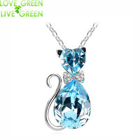 jewelry Austrian crystal Cat catty 18KGP Pendant Chain Necklace