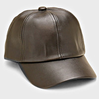 Faux Leather Weekend Baseball Hat - Black